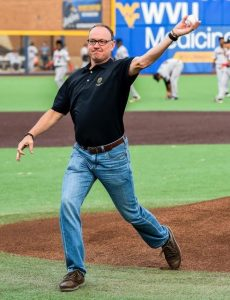 David McCormick throwing the first pitch at the Black Bears Baseball Game