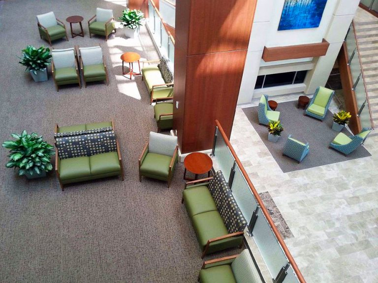 WVU Medicine Common Area designed by Omega Commercial Interiors