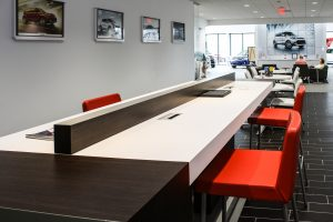 New Freedom KIA's Charging Station designed by Peggy Lovio of Omega Commercial Interiors