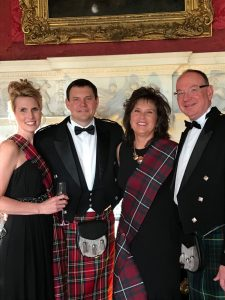 Kimball's sales incentive travel rewards to Scotland- Mike Wagner and his wife of Kimball pictured with Peggy Lovio and David McCormick of Omega Commercial Interiors.