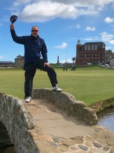 Kimball's sales incentive travel rewards-David McCormick at one of the finest golf courses in St. Andrews of Scotland.