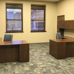 Kimball Priority L Shape Desk with HON Upholstered Back Ignition Task Chair